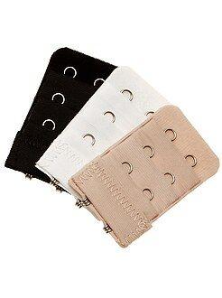 Acessórios lingerie - Lote de 3 extensores de soutien e 2 colchetes
