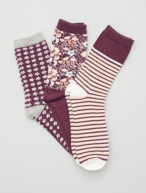 Lote de 3 pares de meias                                         Bordô