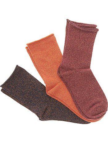 Lote de 3 pares de meias com fibra metálica - Kiabi