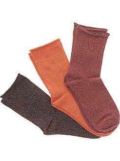 Collants, meias - Lote de 3 pares de meias com fibra metálica