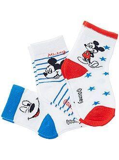 Meias, collants - Lote de 3 pares de meias com motivo 'Mickey'! - Kiabi