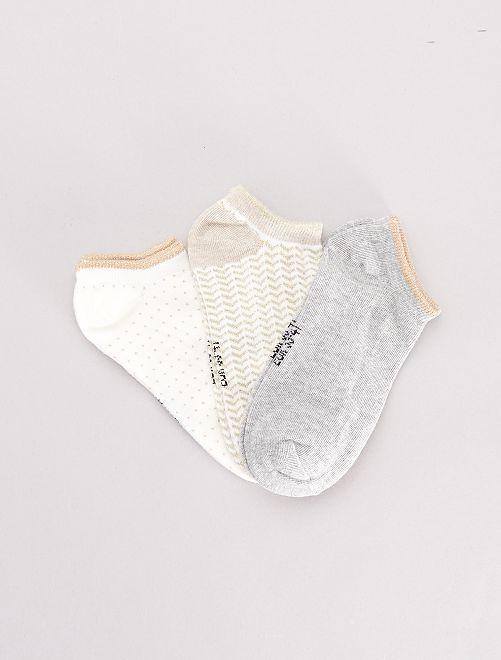 Lote de 3 pares de meias curtas                                             BEGE