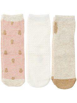 Collants, meias - Lote de 3 pares de soquetes - Kiabi