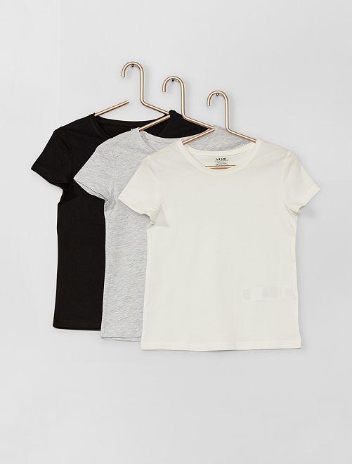 Lote de 3 t-shirts de conceção ecológicas                                         PRETO