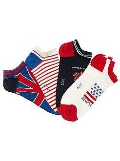 Meias - Lote de 4 pares de meias invisíveis com bandeira