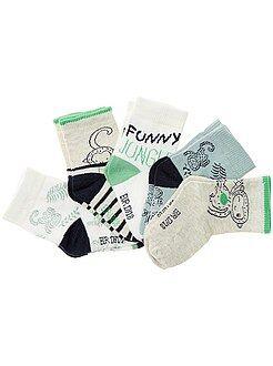 Meias, collants - Lote de 5 pares de meias animais - Kiabi