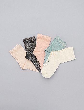 Lote de 5 pares de meias brilhantes - Kiabi