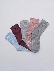 Lote de 5 pares de meias de algodão mesclado