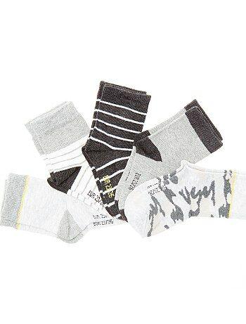 Lote de 5 pares de meias estampadas - Kiabi