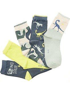 Meias - Lote de 5 pares de meias estampadas 'Dinossauros'