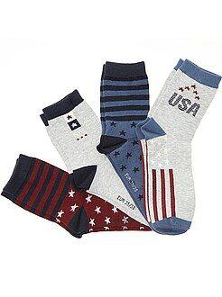 Meias - Lote de 5 pares de meias 'EUA' - Kiabi