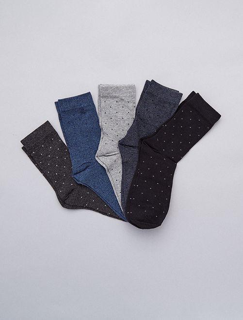 Lote de 5 pares de meias GRIS Homem tamanhos grandes