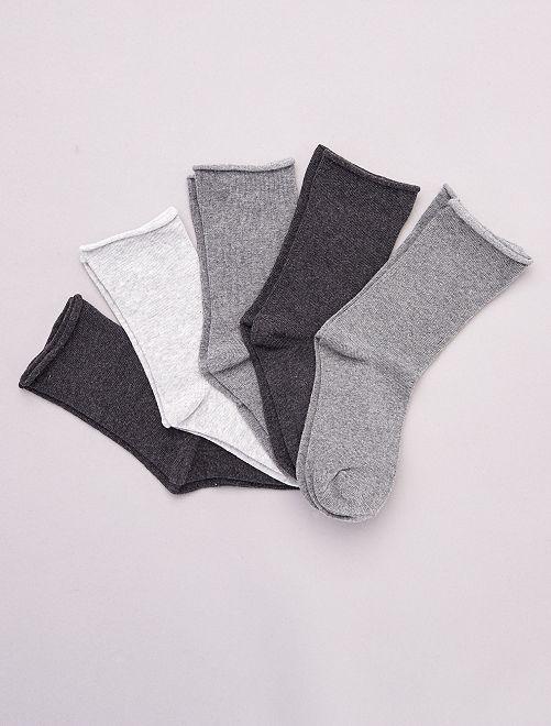 Lote de 5 pares de meias lisas em algodão biológico                                         Cinza