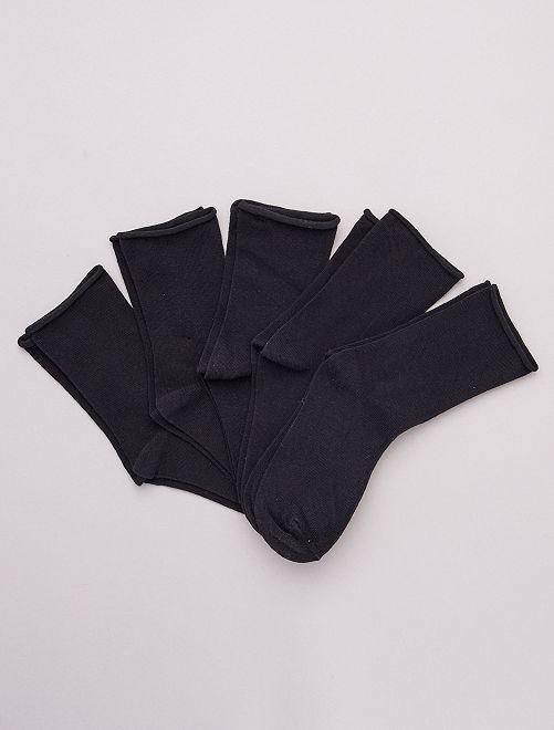Lote de 5 pares de meias lisas em algodão biológico                                         Preto