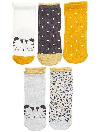 Lote de 5 pares de meias 'tigre' - Kiabi