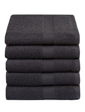 Lote de 5 toalhas em puro algodão - Kiabi