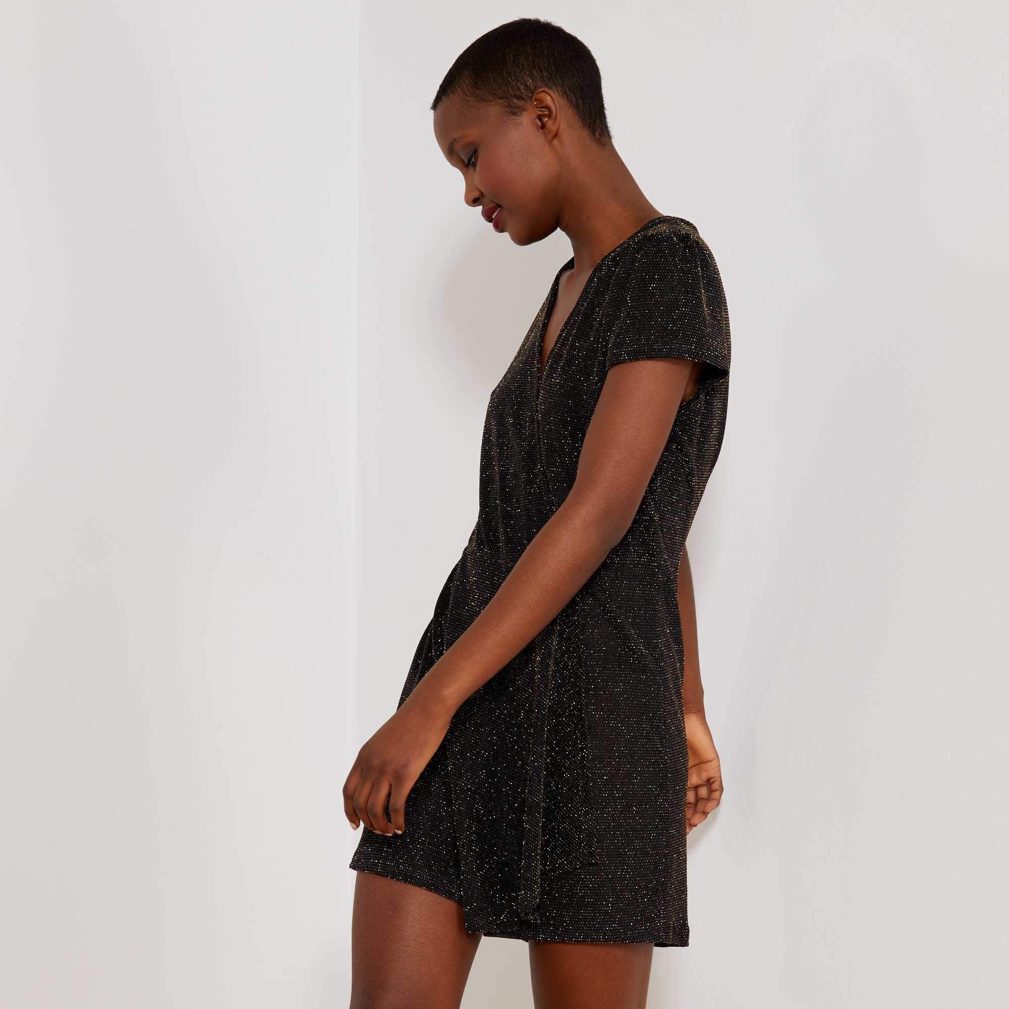 1430cfec2 Macacão-calção brilhante em malha elástica Preto/ Dourado Mulher do 34 até  48. Loading zoom