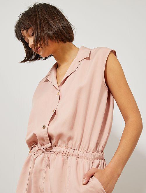 Macacão-calção com gola camisa                                         Violeta Mulher do 34 até 48