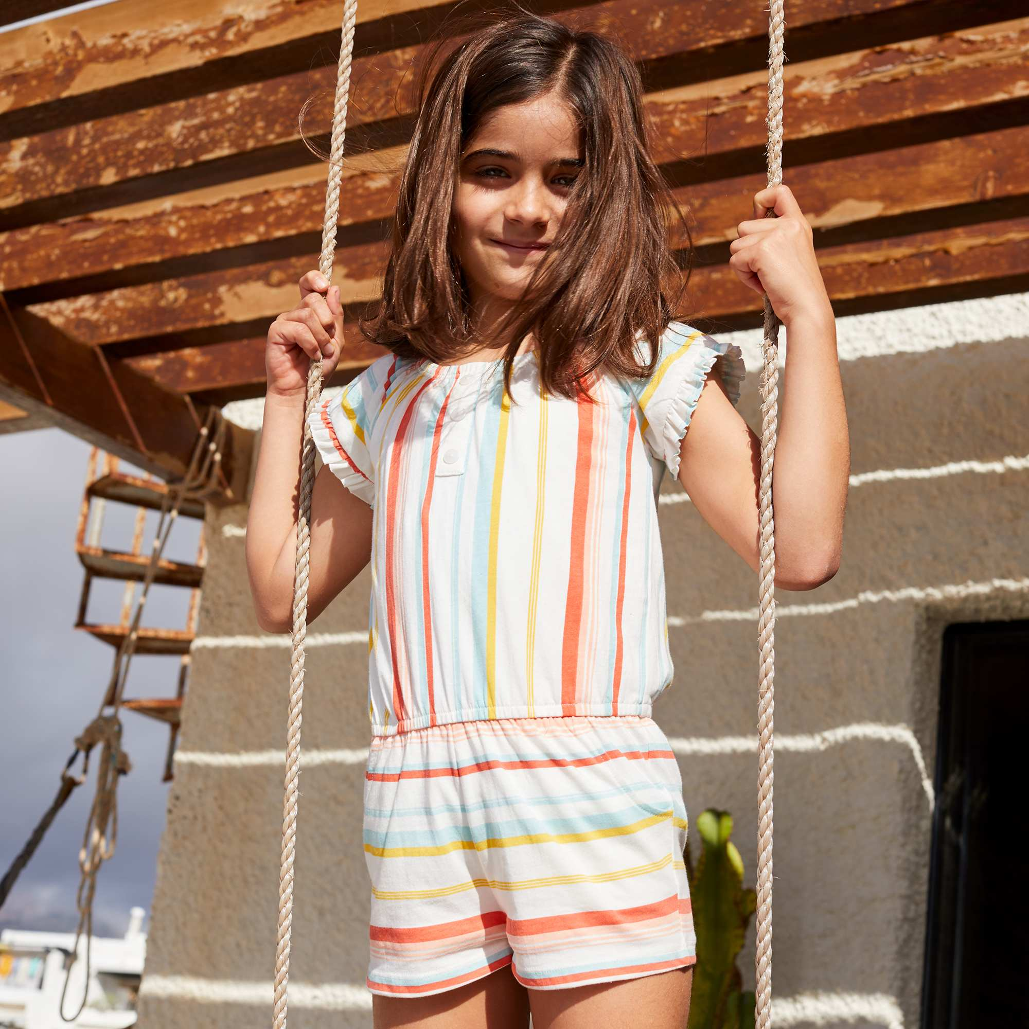 00175a9be Macacão-calção estampado Menina 3-12 anos - Branco - Kiabi - 7