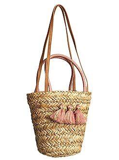 Saco, mochila - Mala com alça com pompons de palha