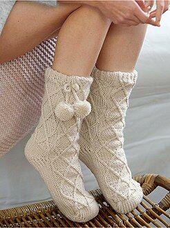 Collants, meias - Pantufas com meias forradas a sherpa