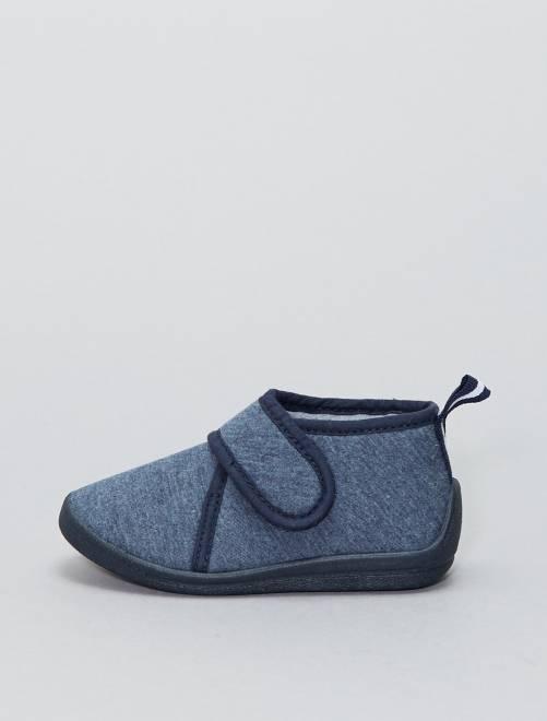 Pantufas subidas com velcro                             Azul Menino 0-36 meses