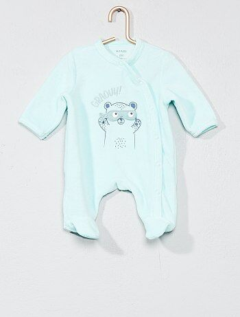 Pijama bordado de veludo - Kiabi