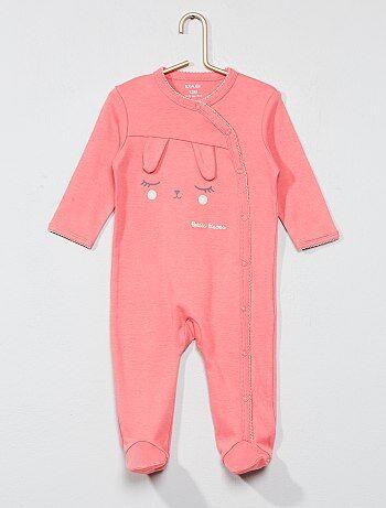 Pijama bordado em puro algodão - Kiabi
