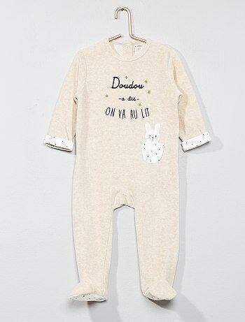 Pijama 'coelho' de veludo - Kiabi