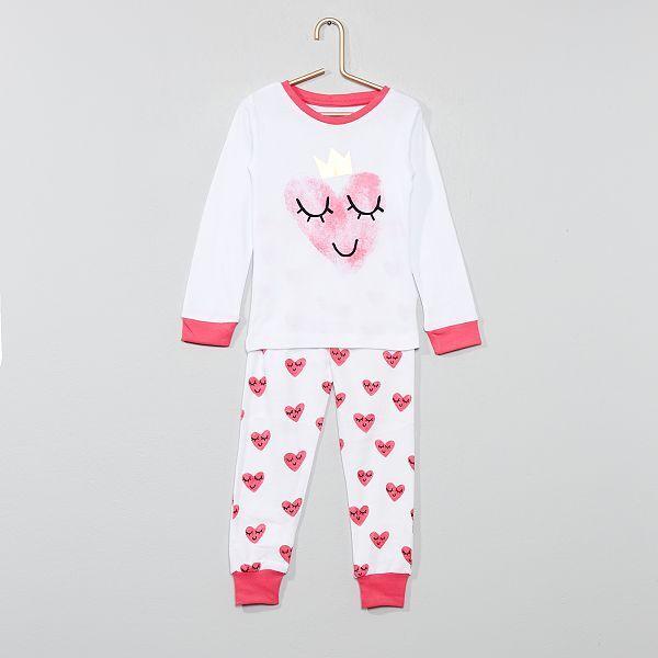 dee185c02a7a3f Pijama comprido 'coração' Menina 3-12 anos - Branco/ Rosa - Kiabi ...
