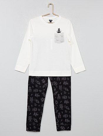 Pijama comprido em jersey com estampado - Kiabi