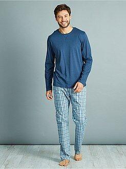 Pijama, roupão - Pijama comprido em puro algodão - Kiabi