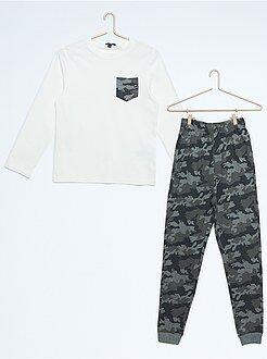 Pijama, roupão - Pijama comprido estampado camuflagem