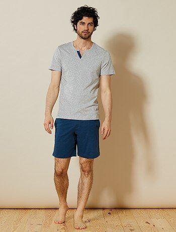 Pijama curto aos quadrados - Kiabi