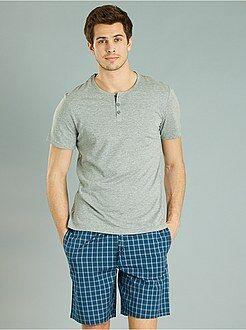 Pijama, roupão - Pijama curto aos quadrados - Kiabi