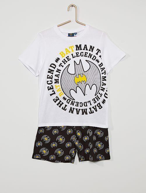 Pijama curto 'Batman'                                         Branco/ Preto