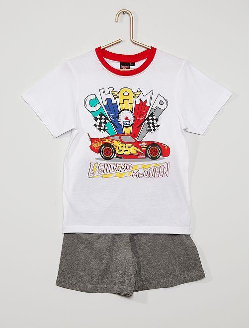 Pijama curto 'Carros'                                         Branco/ Cinza