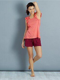 Pijama, camisa de noite - Pijama curto com folhos e malha crepe