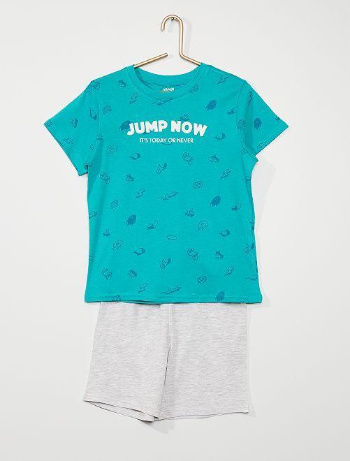 Pijama curto de conceção ecológica                                                                             AZUL
