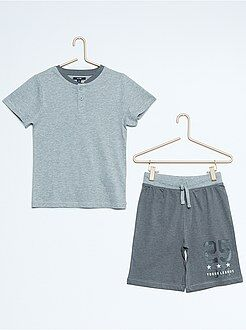 Pijama, roupão - Pijama curto em jersey bicolor