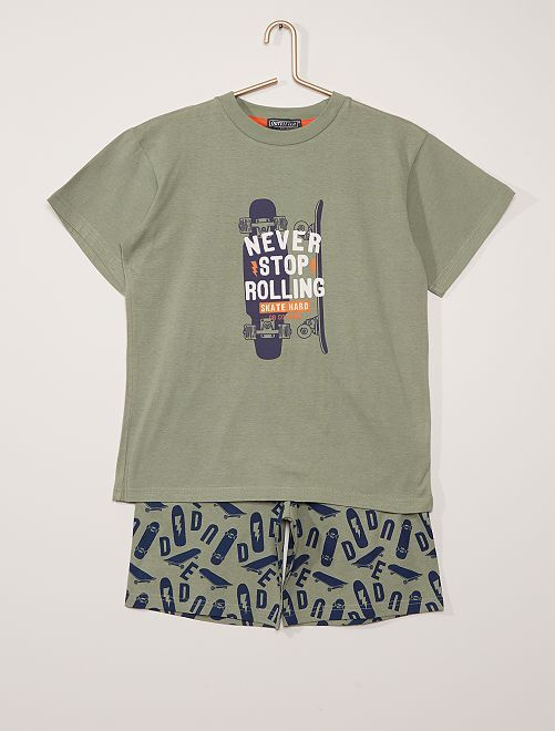 Pijama curto 'Skate'                                         Verde