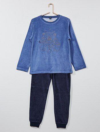 Pijama de 2 peças de veludo estampado - Kiabi