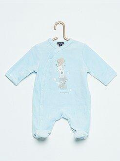 Pijama, roupão - Pijama de veludo com estampado 'urso' - Kiabi