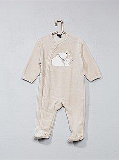 Pijama de veludo com estampado 'urso'