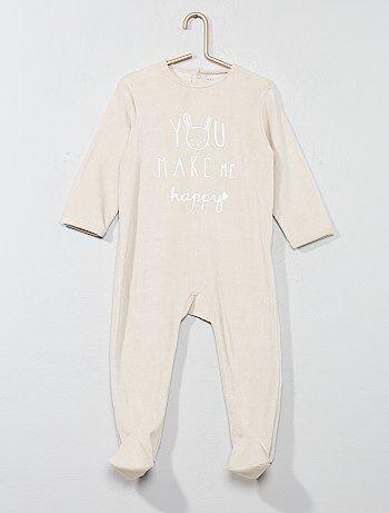 Menino 0-36 meses - Pijama de veludo estampado com mensagem - Kiabi