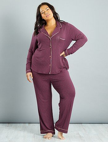 Lingerie tamanhos grandes - Pijama em jersey com estampado gravata - Kiabi