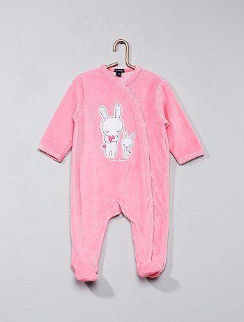 Pijama em veludo com estampado coelho - Kiabi
