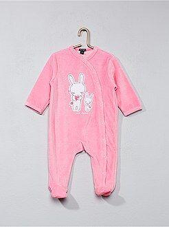 Pijama, roupão - Pijama em veludo com estampado coelho - Kiabi