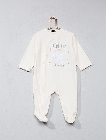 Pijama em veludo com estampado 'ovelha' - Kiabi