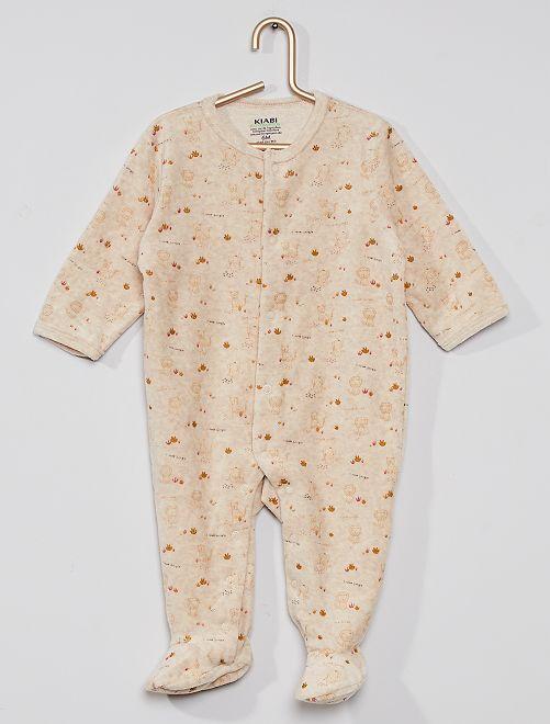 Pijama em veludo conceção ecológica                                             BEGE